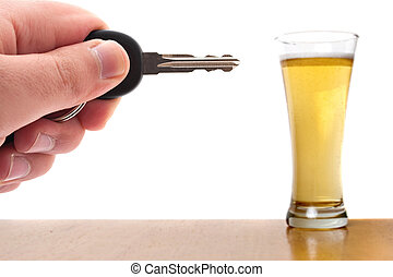 Drinking and Driving - Drunk driving conceptual image with a...