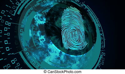 Abstract concept of internet safety. - Scanning fingerprint...