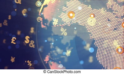 """World Globe Rotation with currency signs"" - ""Abstract World..."