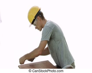 Marking - A real construction worker using a chalk line to...