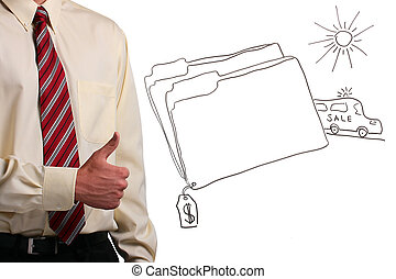Man showing thumbs up - Man in a shirt and a tie showing...