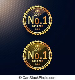 no.1 brand golden label and badge design