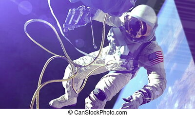 """Animation of NASA Astronaut in outer space"" - ""Animation of..."