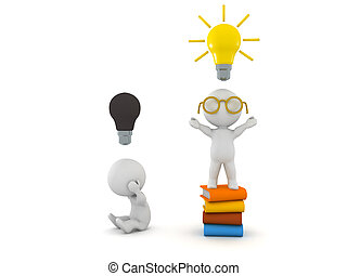 3D Character sitting on top of stack of books with a lightbulb above his head