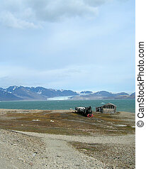 Abandoned small coal train in Ny-?lesund, Spitsbergen,...