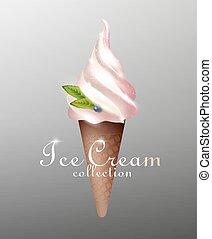 Realistic Tasty Sundae Ice Cream Template - Realistic tasty...
