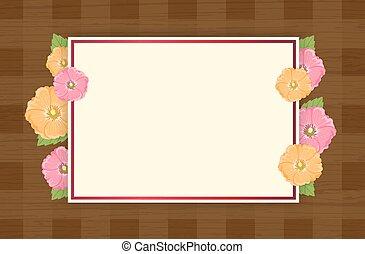 Summer Flowers Background or Summer floral Design on wooden background