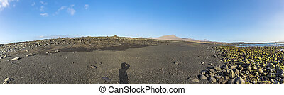 black volcanic beach at Janubio in Lanzarote