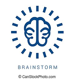 icon brainstorm - Brainstorm vector blue flat icon on white...
