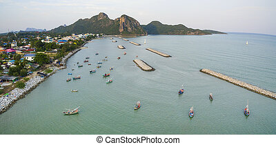 aerial view of klong wan harbor prachuap khiri khan southern...