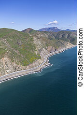 Shoreline Aerial North Malibu California - Aerial view of...