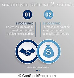 Monochrome blue bubbles chart Infographics for 2 steps