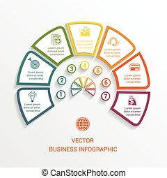 semicircle infographics template seven positions - Vector...