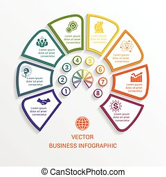 semicircle infographics template eight positions - Vector...