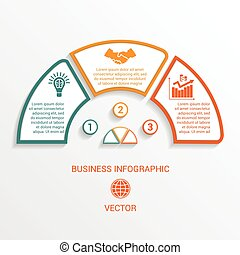 semicircle infographics template three positions - Vector...