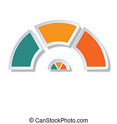 Semicircle diagram with 3 multicolored elements - Template...