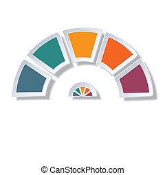 Semicircle diagram with 5 multicolored elements - Template...