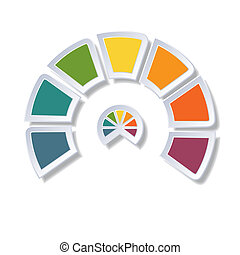 Semicircle diagram with 7 multicolored elements - Template...