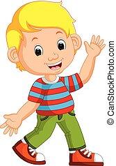 Cute boy cartoon posing - illustration of Cute boy cartoon...