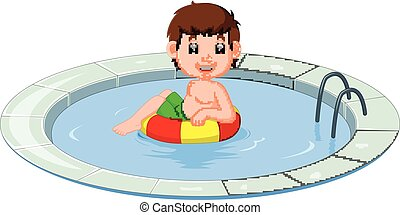 cute little kids swimming with inflatable circle