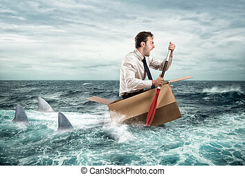 Escape from crisis - Fearful Businessman escapes screaming...
