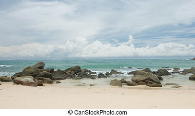Coast of the tropical ocean. Sand and rocks. Thailand,...