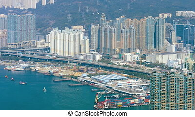 Panorama of a large city on the shore. Hong Kong. Video...