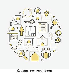 House for sale round illustration