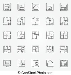 House plans icon set