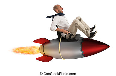 Increase the climb to success - Businessman flying over a...