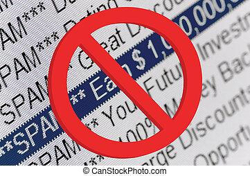 Spam, Carpeta, Listado, y, rojo, prohibición,...
