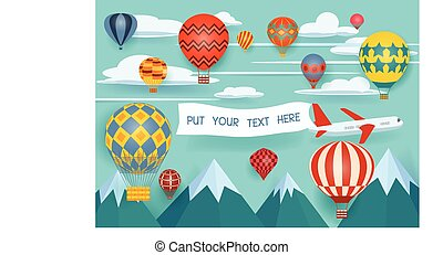 Hot air balloon festival - Advertising banners pulled by a...