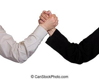 deux, mains, bras, lutte