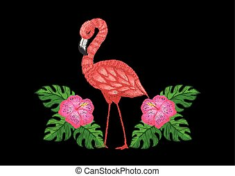 Embroidery flamingos