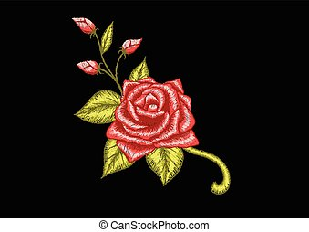 Red rose - Embroidery red rose pattern with d.Vector...