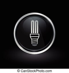 Fluorescent lightbulb icon inside round silver and black emblem