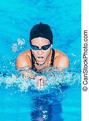 Breastrstroke swimmer in the pool