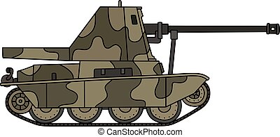 Vintage self propelled gun - Hand drawing of a vintage...