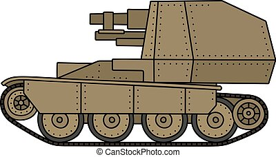 Vintage armored vehicle - Hand drawing of a vintage sand...