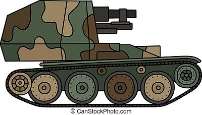 Vintage self propelled gun - Hand drawing of a vintage color...