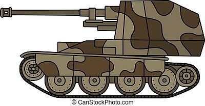 Old self propelled gun - Hand drawing of a vintage sand and...