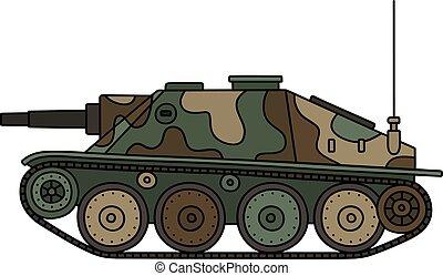 Vintage tank destroyer - Hand drawing of a vintage color...