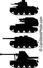 Classic armored vehicles - Hand drawing of four black...