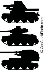 old armored vehicles - Hand drawing of three black...