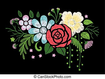 wild flowers - Branch of wild flowers embroidery design on...