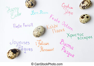 Happy Easter note written in different languages - Happy...