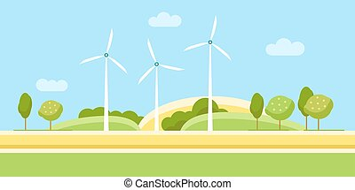Wind Turbine Landscape - Wind Turbine Alternative Energy...