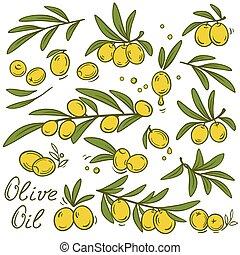 vintage olive branches set