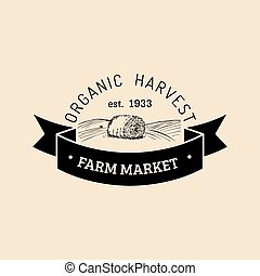 Vector retro farm fresh logotype. Organic premium quality...