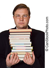 Men with stack of books, isolated on white background